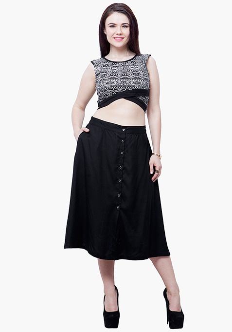 CURVE Buttoned Midi Skirt - Black