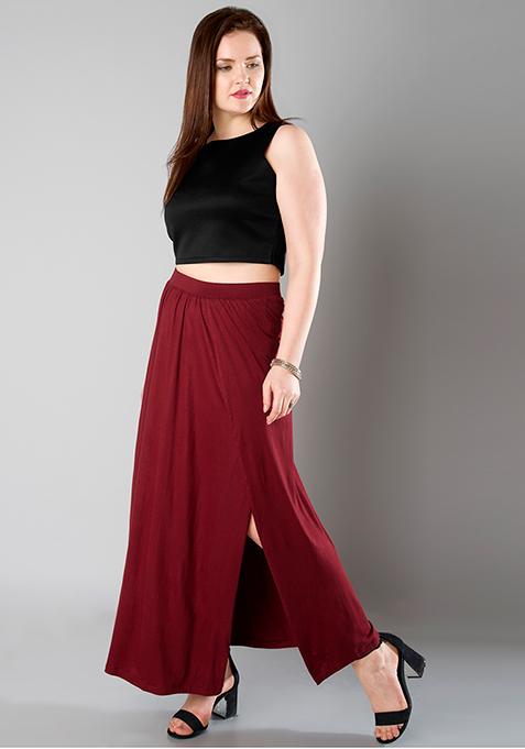 CURVE Wrap Maxi Skirt - Oxblood