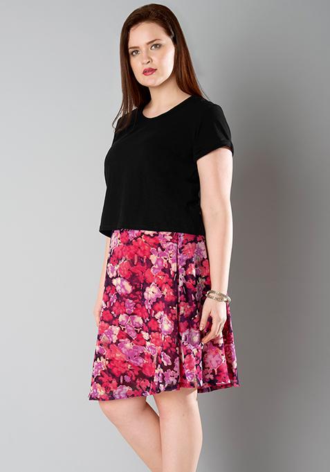 CURVE A-Line Skirt - Pink Floral