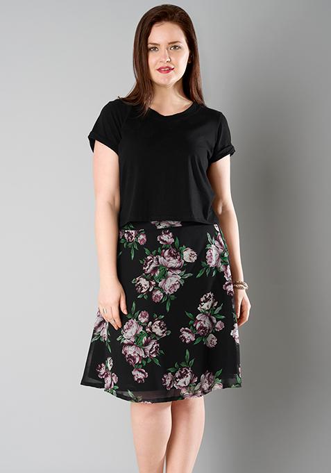 CURVE A-Line Skirt - Black Floral