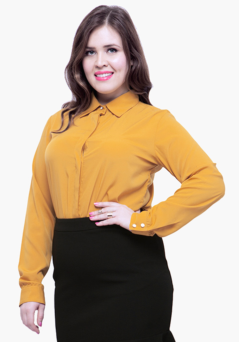 CURVE Betwixt The Pleats Blouse - Mustard