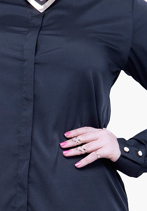 CURVE Betwixt The Pleats Blouse - Navy