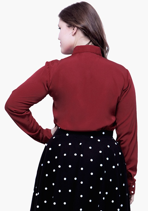 CURVE Betwixt The Pleats Blouse - Oxblood