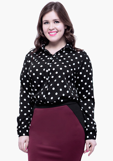 CURVE Betwixt The Pleats Blouse - Polka