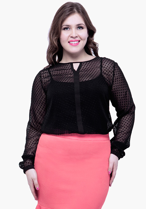 CURVE Black Sheer Swiss Dot Blouse