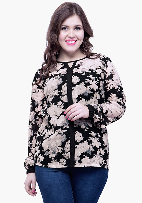 CURVE Floral Punch Sheer Blouse