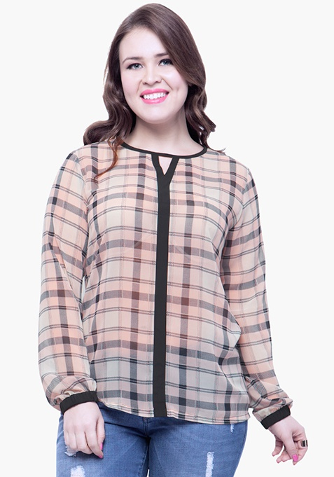 CURVE Checkered Chic Sheer Blouse