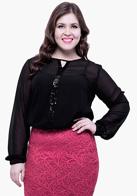 CURVE Classic Black Sheer Blouse