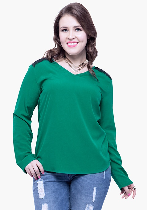 CURVE Lace Trance Blouse - Green