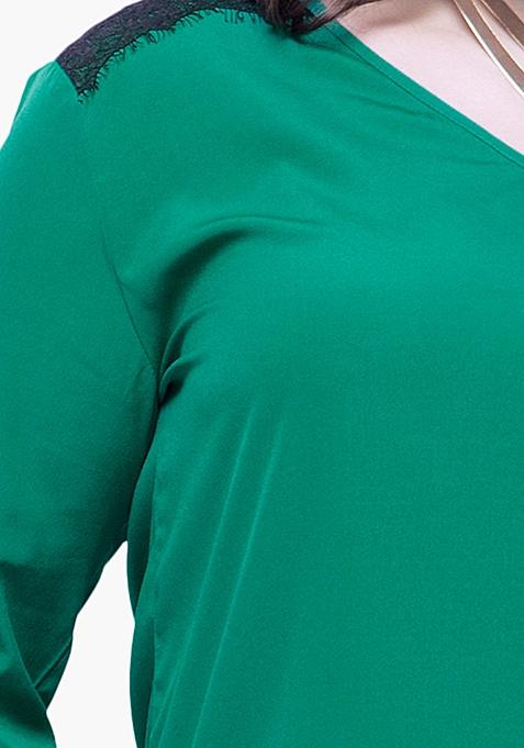 CURVE Lace Trance Blouse - Green