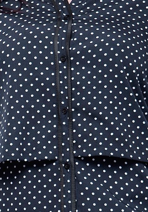 CURVE Blue Polka Layered Shirt
