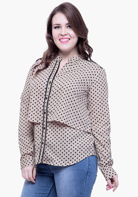 CURVE Beige Polka Layered Shirt