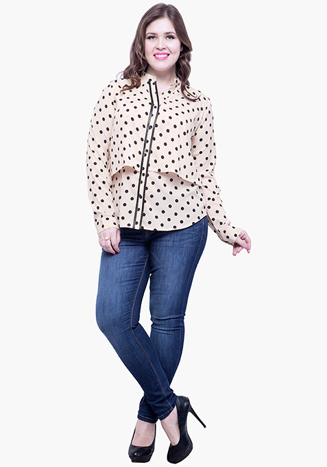 CURVE Fawn Polka Layered Shirt
