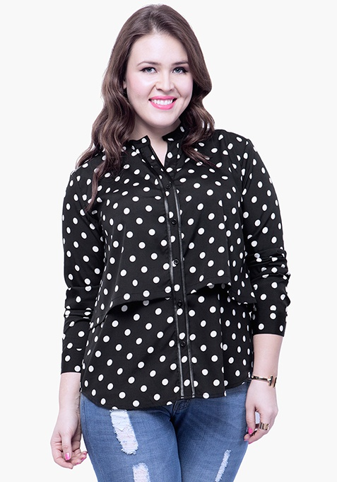 CURVE Black Polka Layered Shirt