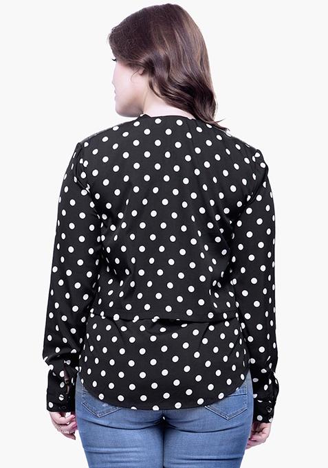 CURVE Black Polka Layered Shirt