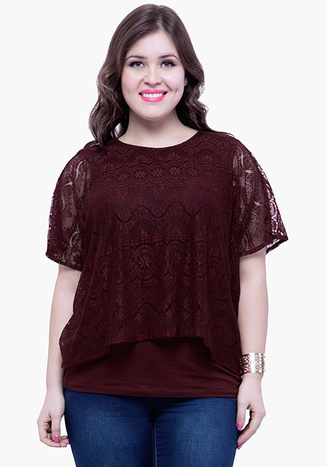 CURVE Lace Overlay Blouse - Oxblood