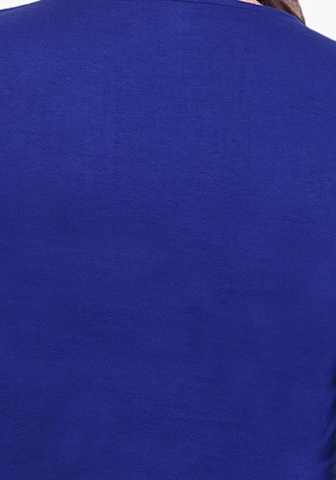CURVE Peplum Jersey Top - Blue