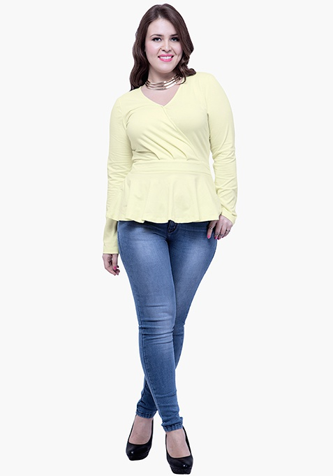 CURVE Peplum Jersey Top - Lemon