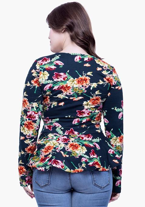 CURVE Peplum Jersey Top - Floral