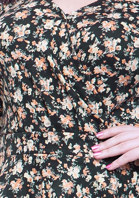 CURVE Peplum Jersey Top - Dusk Floral
