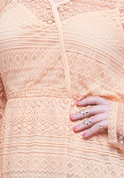 CURVE Overlap Bodice Lace Top - Blush