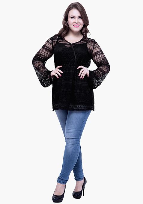 CURVE Overlap Bodice Lace Top - Black