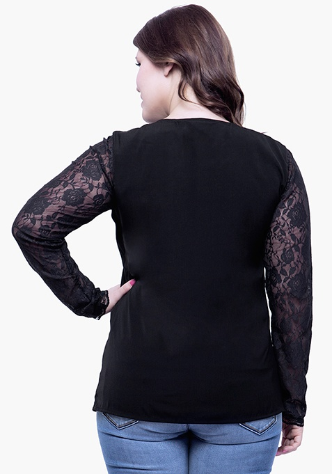 CURVE Lace Sleeve Sassy Blouse - Black