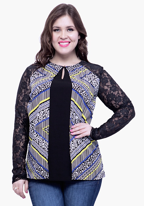 CURVE Lace Sleeve Blouse - Multi Aztec