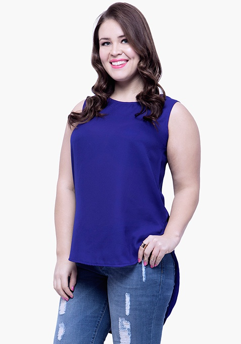 CURVE High Low Tunic Top - Navy