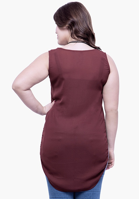 CURVE High Low Tunic Top - Oxblood