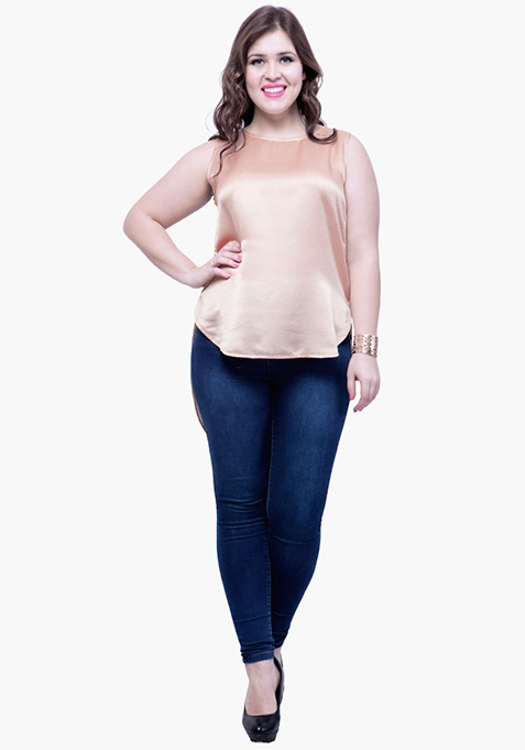 CURVE High Low Tunic Top - Peach