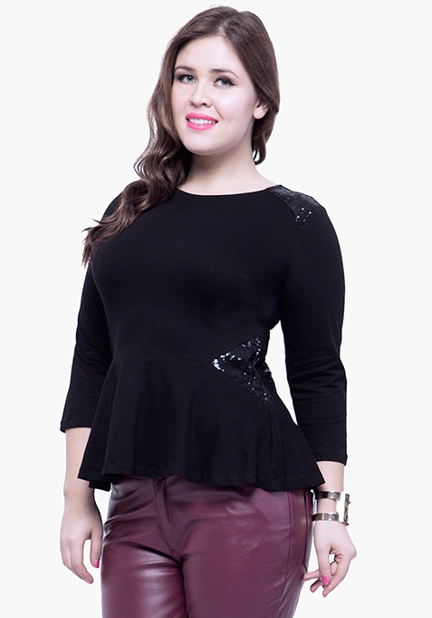CURVE Sequin Peplum Top - Black