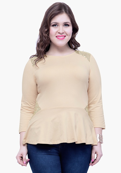 CURVE Sequin Peplum Top - Beige