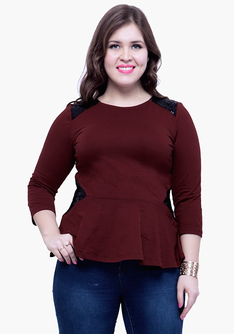CURVE Sequin Peplum Top - Oxblood