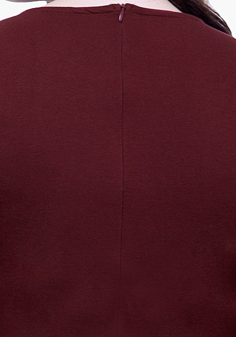 CURVE Sequin Peplum Top - Oxblood