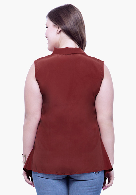 CURVE Belle Pussybow Top - Oxblood