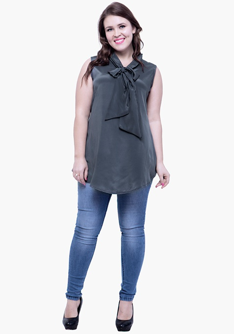 CURVE Belle Pussybow Top - Grey