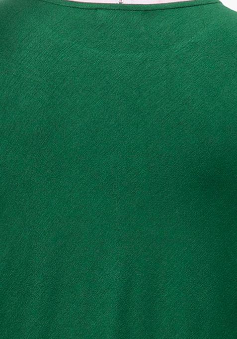 CURVE Green Handkerchief Hem Top