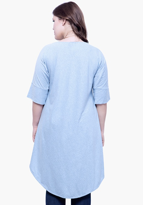 CURVE Curved Longline Tunic Top - Cyan