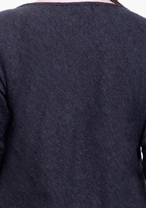 CURVE Curved Longline Tunic Top - Black