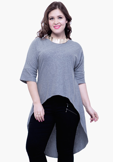 CURVE Curved Longline Tunic Top - Grey