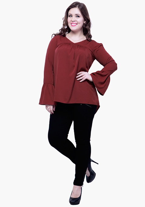 CURVE Cutout Bell Sleeve Blouse - Oxblood