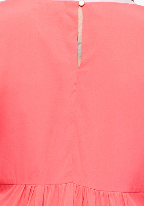 CURVE Cutout Bell Sleeve Blouse - Coral