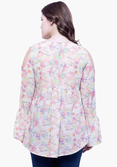 CURVE Cutout Bell Sleeve Blouse - Floral