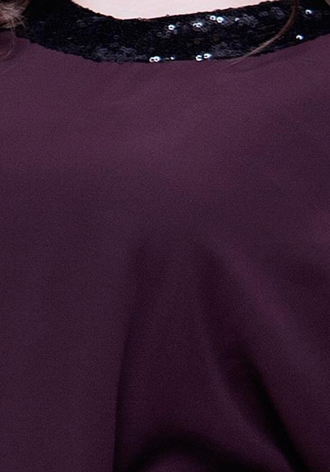CURVE Sequin Stash Poncho Top - Wine