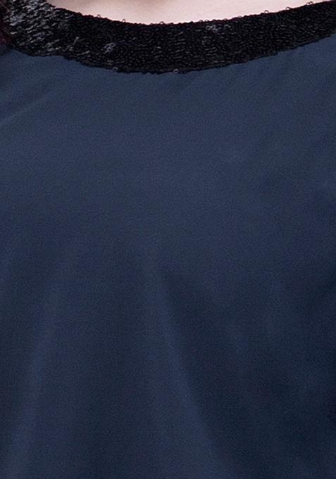 CURVE Sequin Stash Poncho Top - Navy