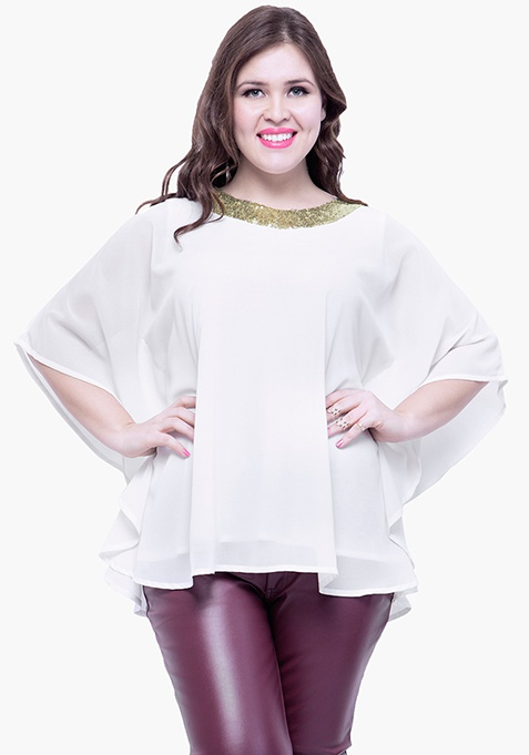 CURVE Sequin Stash Poncho Top - White