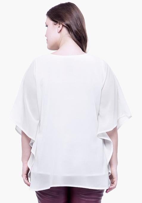CURVE Sequin Stash Poncho Top - White