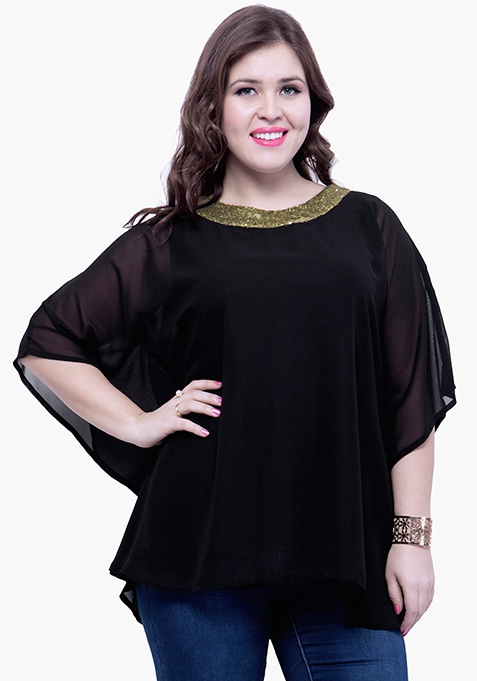 CURVE Sequin Stash Poncho Top - Black
