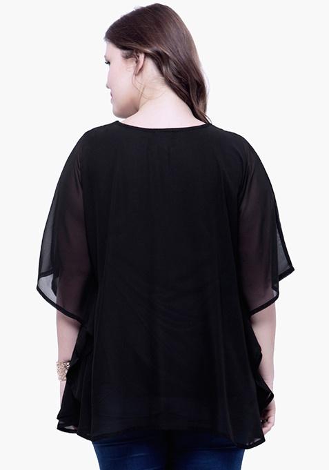 CURVE Sequin Stash Poncho Top - Black
